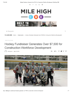 Hockey Fundraiser Generates Over $7,500 for Construction Workforce Development_Mile High CRE_Page_1