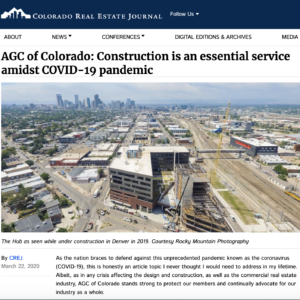 CREJ_AGC of Colorado_ Construction is an essential service amidst COVID-19 pandemic_Business Rewritten